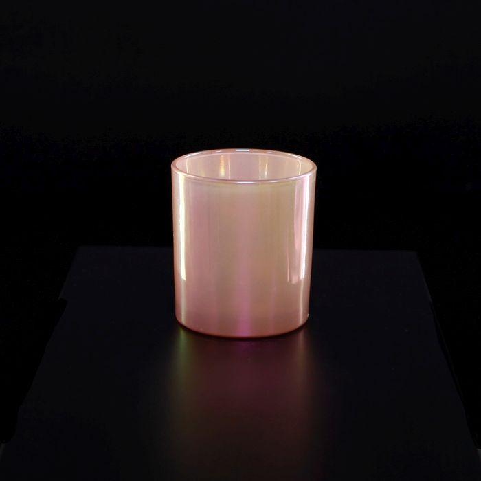 svícen d 6,1, v7,3cm růžová perleť, sklo