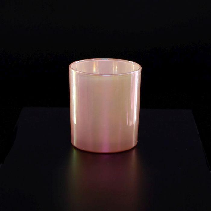 svícen d 8, v8,8cm růžová perleť, sklo