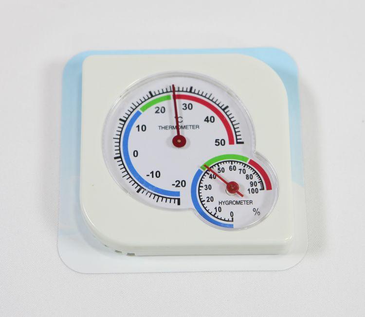teploměr 8,5x8,5cm +vlhkoměr, hranatý, -20°C+50°C
