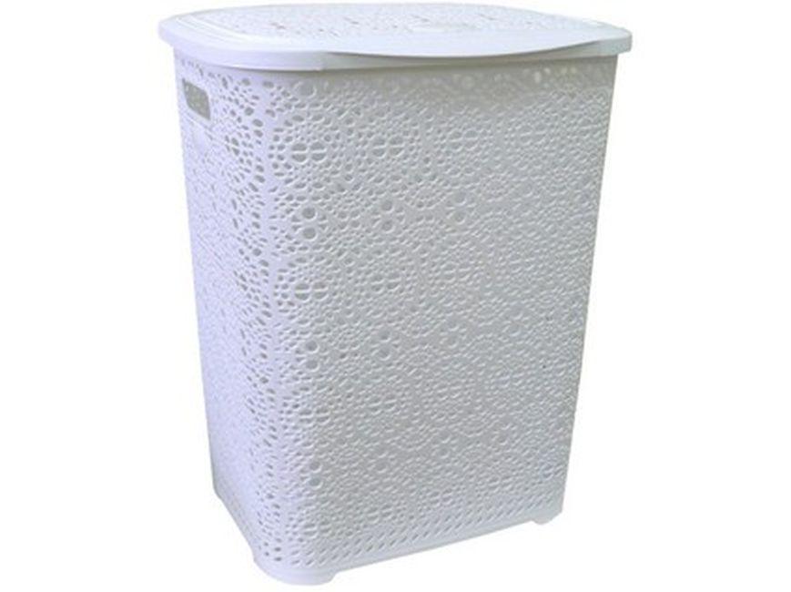 koš 65l na použ. prádlo bílý MONACO, 45x38,v.57cm