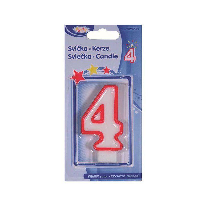 svíčka 4, číslová, 75mm, 1ks