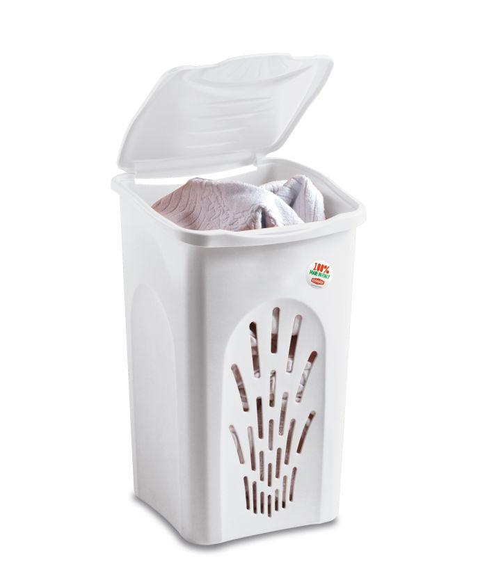 koš 50l na použ.prádlo bílý děrov.56x37x37cm