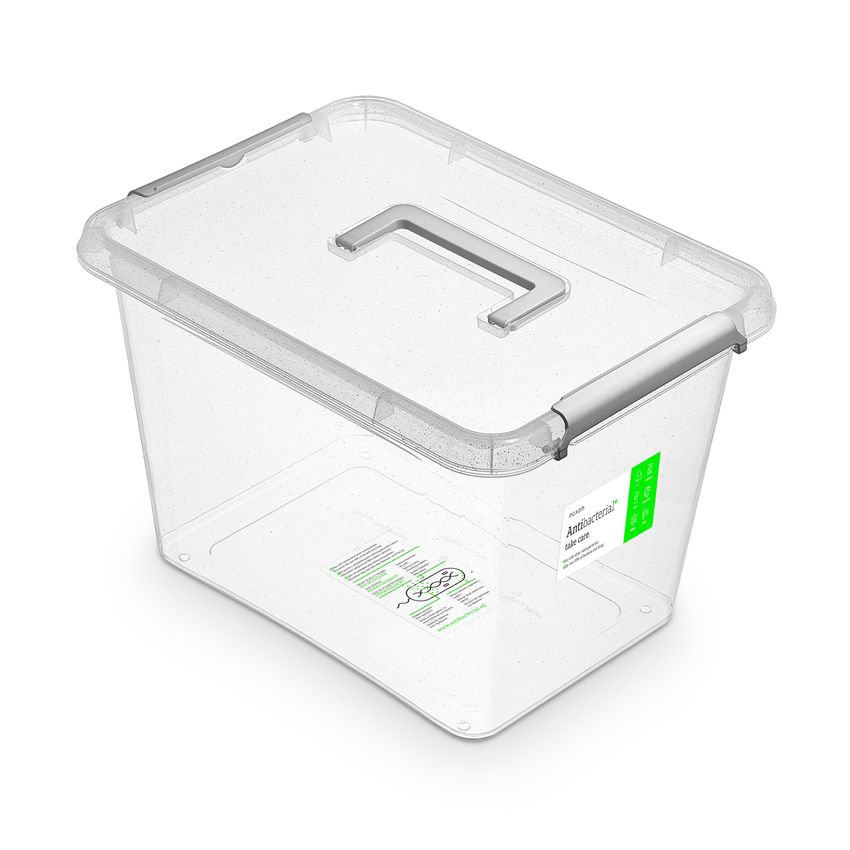 antibakter.box 19,0 l, 39x29x26cm,rukojeť, transp.