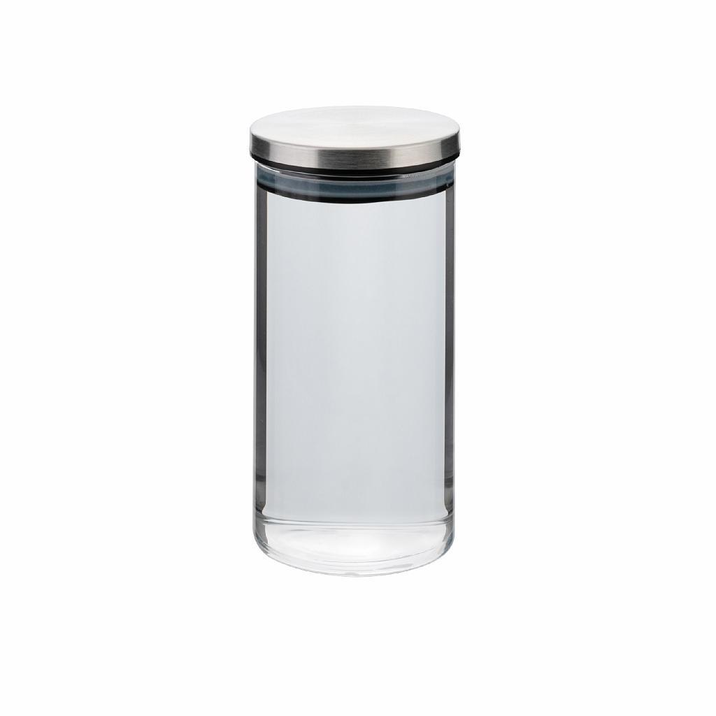 dóza 0,80l, d8,5x18cm AIRTIGHT, sklo+těsn.kov.víčk