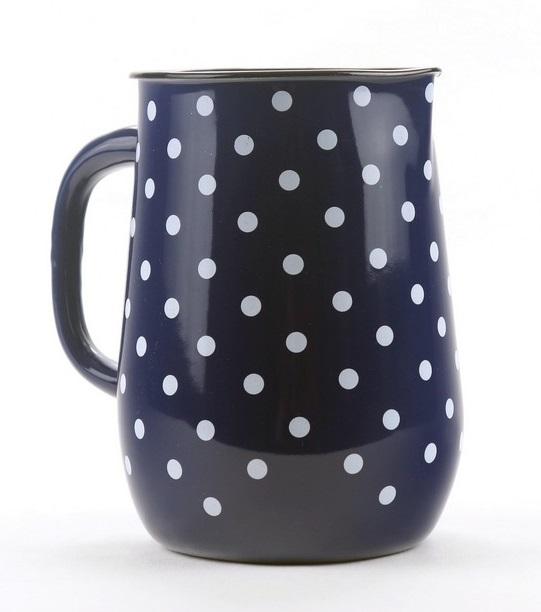 džbán 2,5l - modrý, bílý puntík, d11,5x20cm, smalt