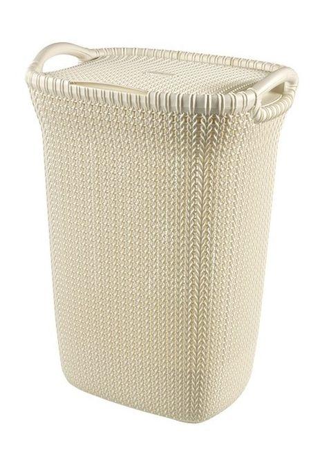 koš 57l na použ.prádlo KNIT krém,(45x61x34cm)
