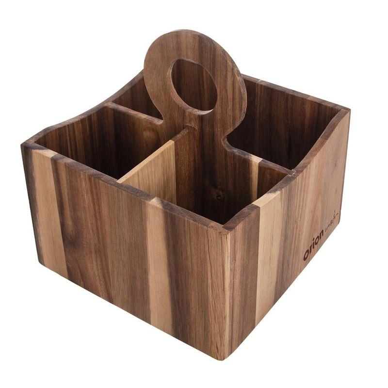 stojan na příbory, 18x18x20cm, AKÁCIE, dřevo