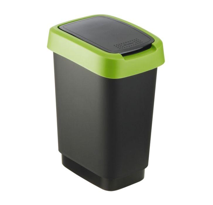 koš odp.10l TWIST, černý/zelený,výklop., plast
