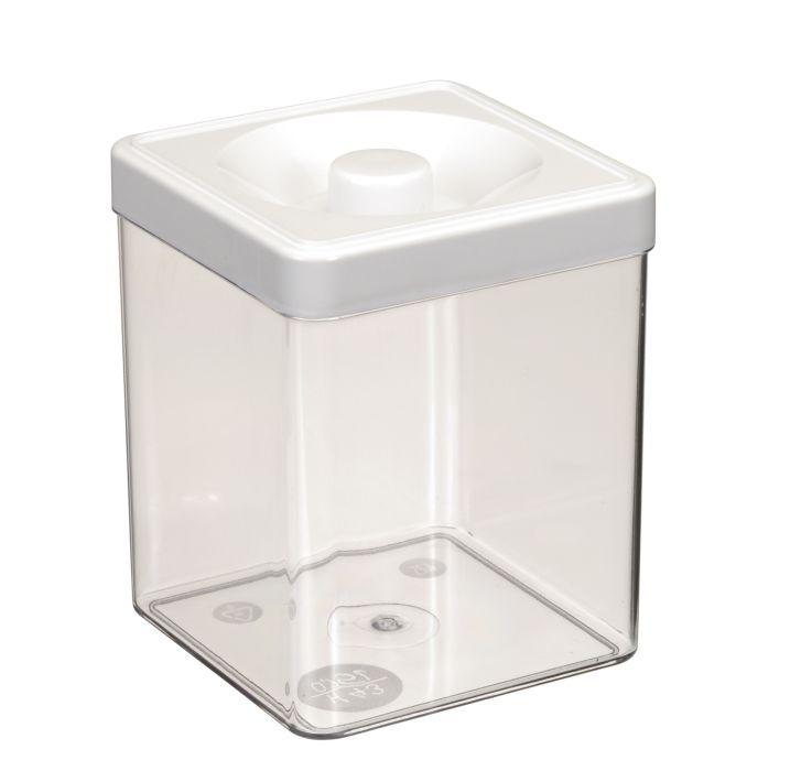 dóza 0,75l  9,4x 9,4x12,0cm, čtverc., plast