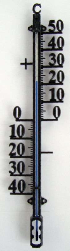 teploměr 26cm venk., -40°C+50°C, černý plast