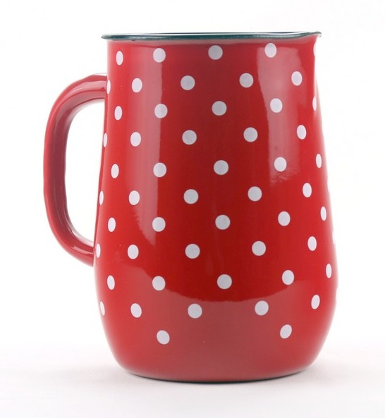 džbán 2,5l - červený, bílý puntík, d11,5x20cm, sma