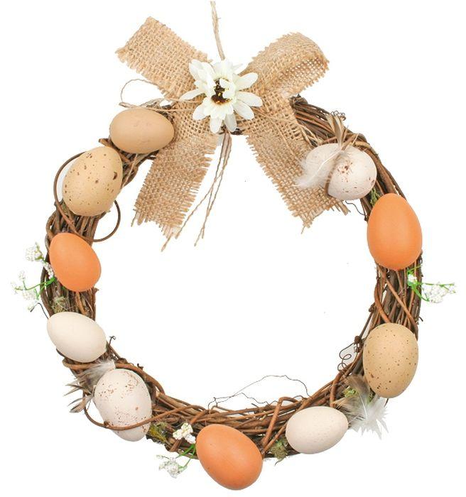 dekorace VĚNEC d20cm, plast.vejce, proutí