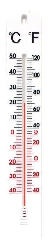 teploměr 40x6,3cm venk., -40°C+50°C, PLASTIK III
