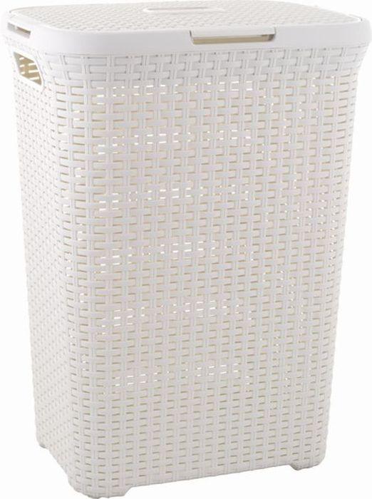 koš 60l na použ.prádlo RATAN krémový(45x34x62cm)