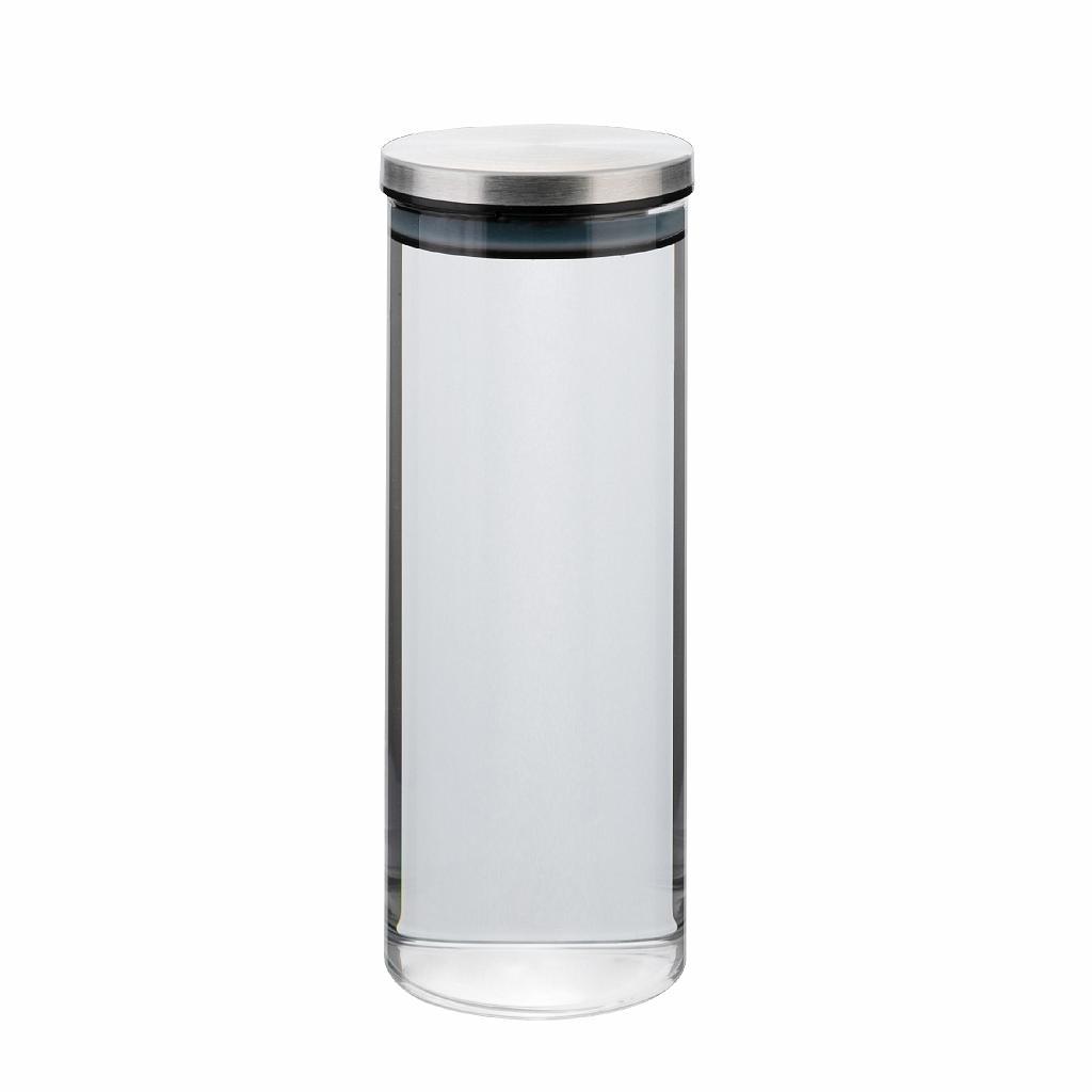 dóza 1,00l, d8,5x22cm AIRTIGHT, sklo+těsn.kov.víčk