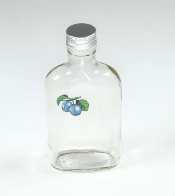 láhev 0,2 l ŠVESTKA (placatka)+kov.uzávěr, sklo