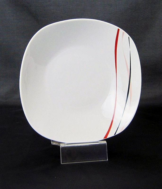 talíř d21.5cm hluboký, AMELIE dekor, porcelán