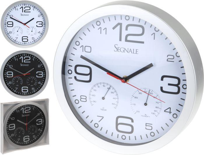 hodiny d30cm+teploměr+vlhkoměr, kul.nástěnné