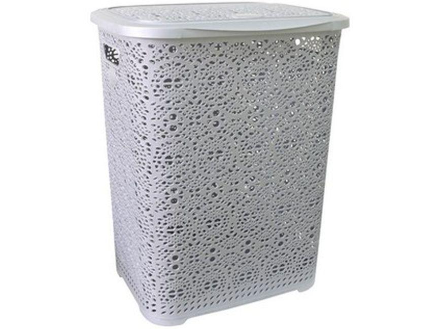 koš 65l na použ. prádlo šedý MONACO, 45x38,v.57cm