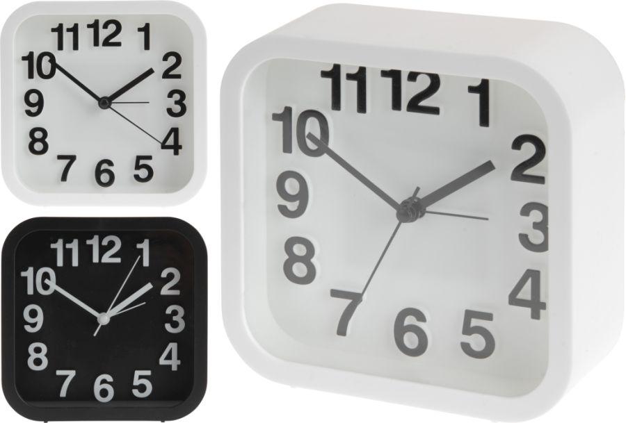 hodiny 13x13cm,i BUDÍK, černé/bílé/šedé, 3typy,čtv