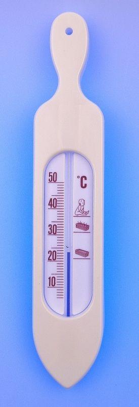 teploměr 19,5x3,8cm koup., 10°C+50°C, LOĎ bílá