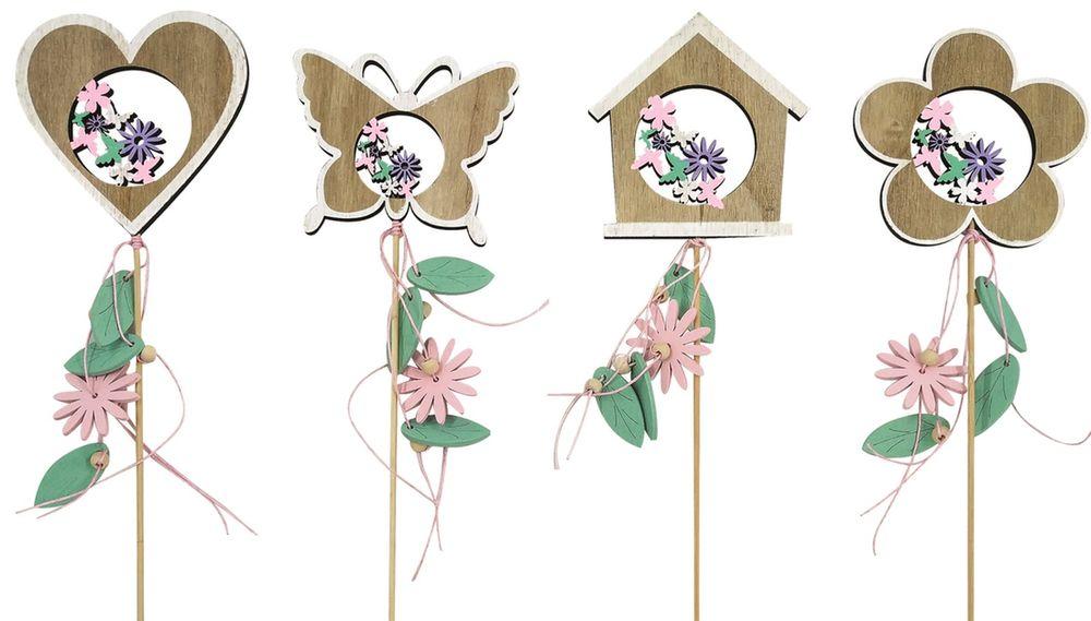 dekorace Jarní dřevěná 10 cm, zápich