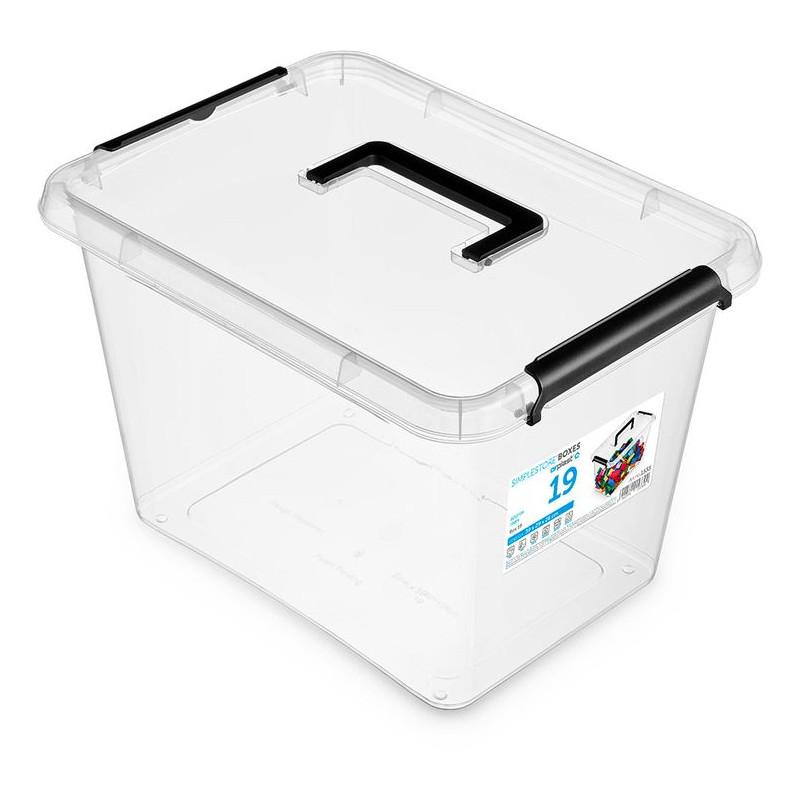box 19,0l SIMPLE-1533, 39x29x26cm,rukojeť, transp.