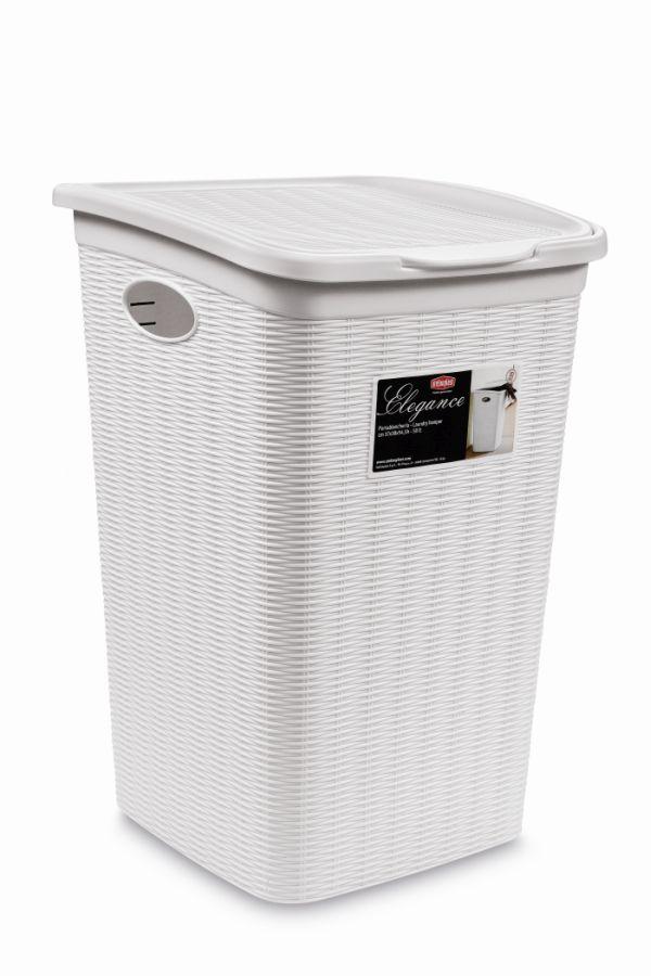 koš 50l na použ.prádlo,bílý ratan, 54,5x38x37cm,EL