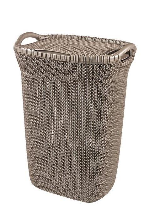 koš 57l na použ.prádlo KNIT hnědý(45x61x34cm)