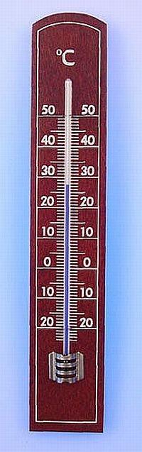 teploměr 20,0x3,5cm pokoj., -20°C+50°C, dřevo MIX