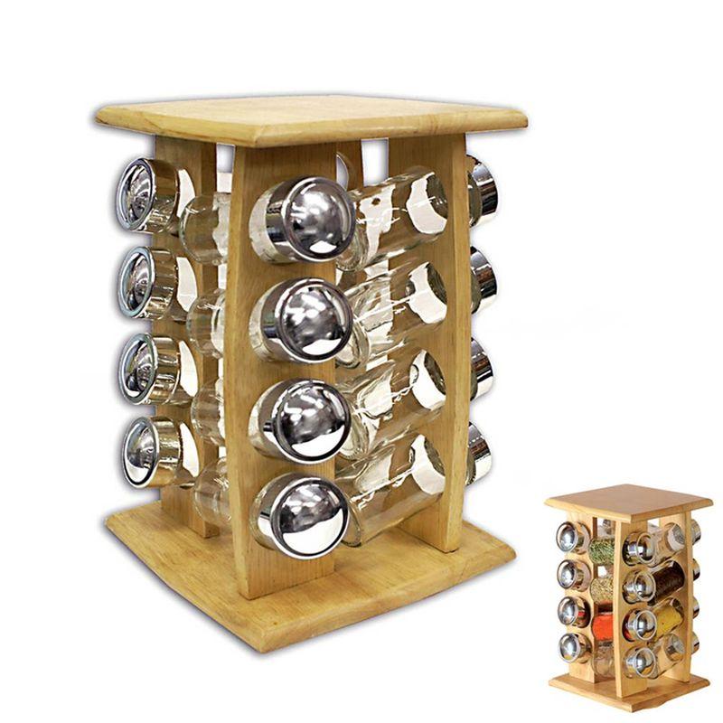 kořenka 16ks sklo/dřevo-karusel.stojánek
