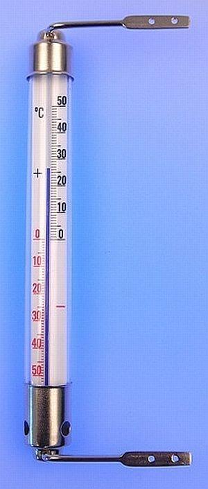 teploměr 20,0cm okenní, -50°C+50°C, kov.obj.