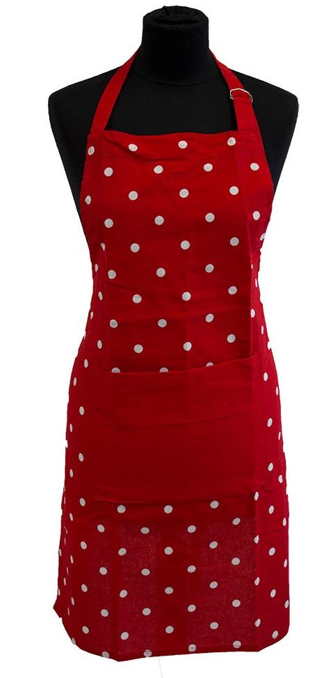 zástěra 80x60cm červená, PUNTÍK bílý, textil  *PO