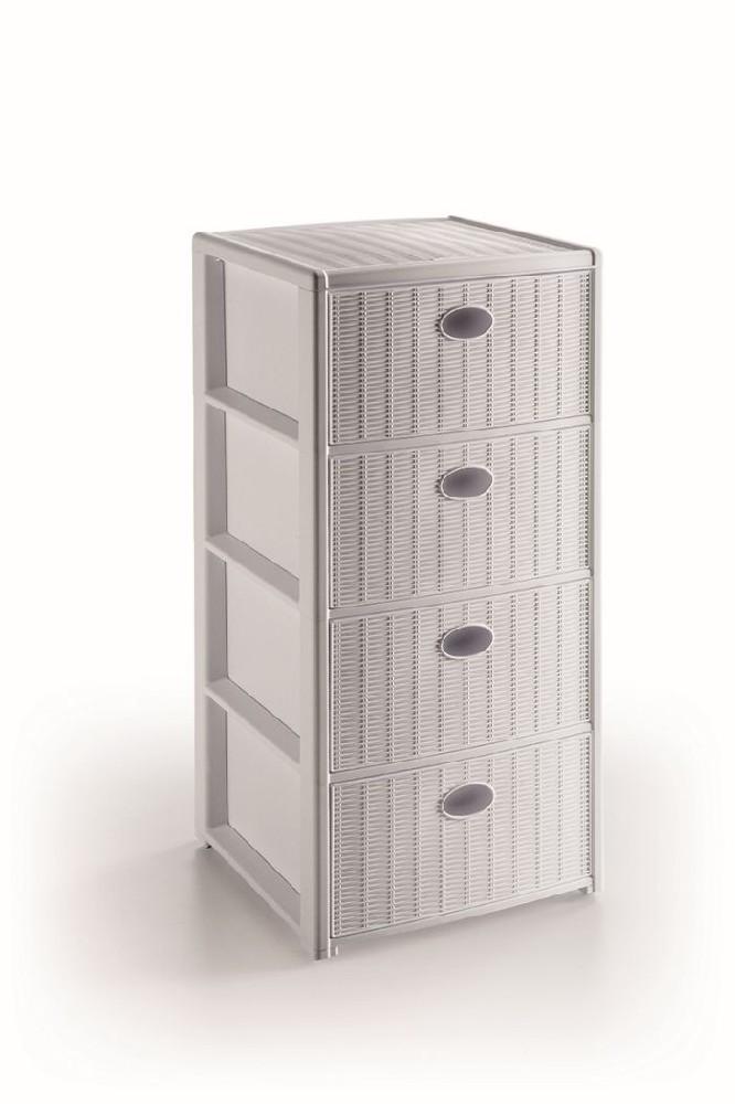 skříňka 4 zásuvky bílá,80x40x40cm, im.ratan