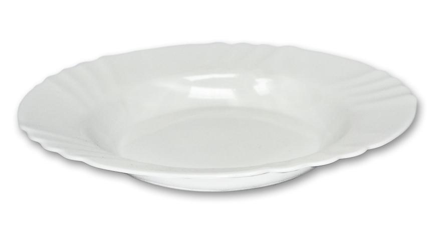 talíř d23cm hluboký, EBRO bílý, opál.sklo