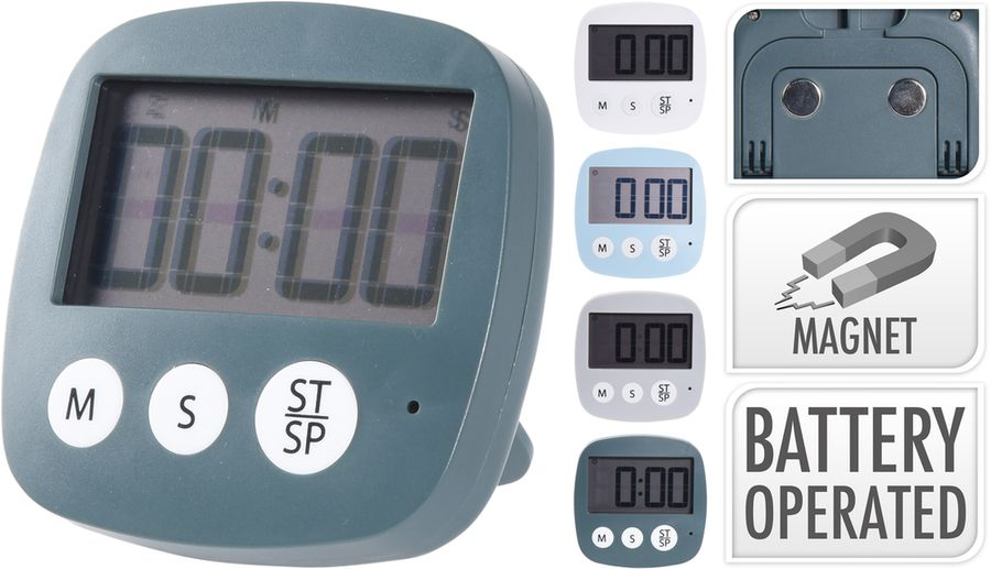 minutník digitální+hodiny, 4barvy,stojánek