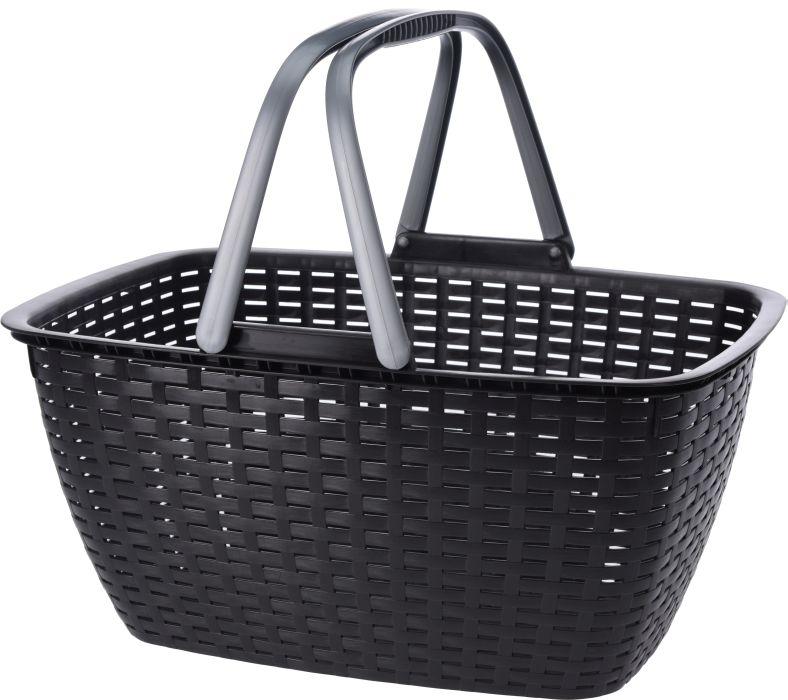 košík 43x30x21,5cm RATAN, nákupní, antracit,plast