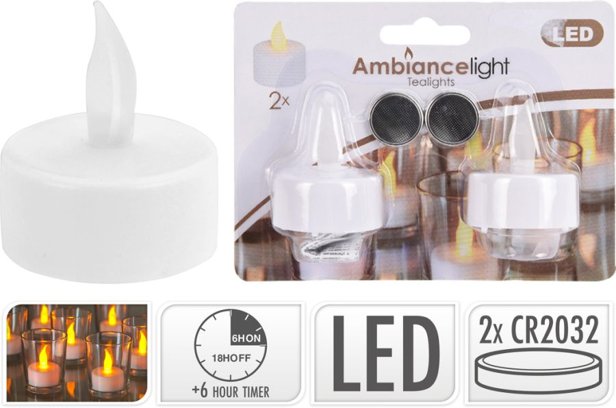 svíčka  2ks LED čajová s časovačem