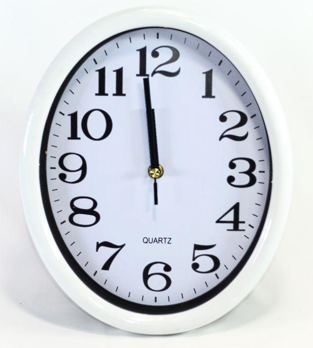 hodiny 28x23cm, ovál, bílý rám