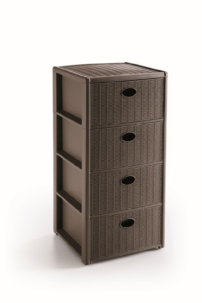 skříňka 4 zásuvky sv,hnědá,80x40x40cm, im.ratan