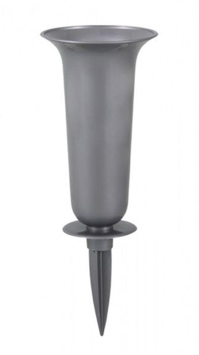váza d16x37cm šedá, zapich, plast