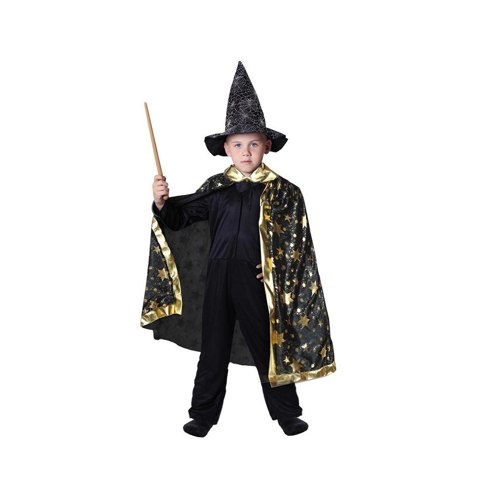 Dětský kostým kouzelnický plášť černý