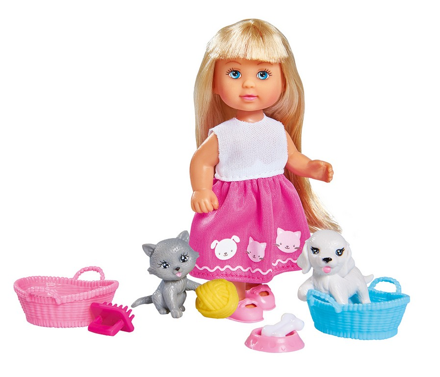 Panenka Evička s pejskem a kočičkou