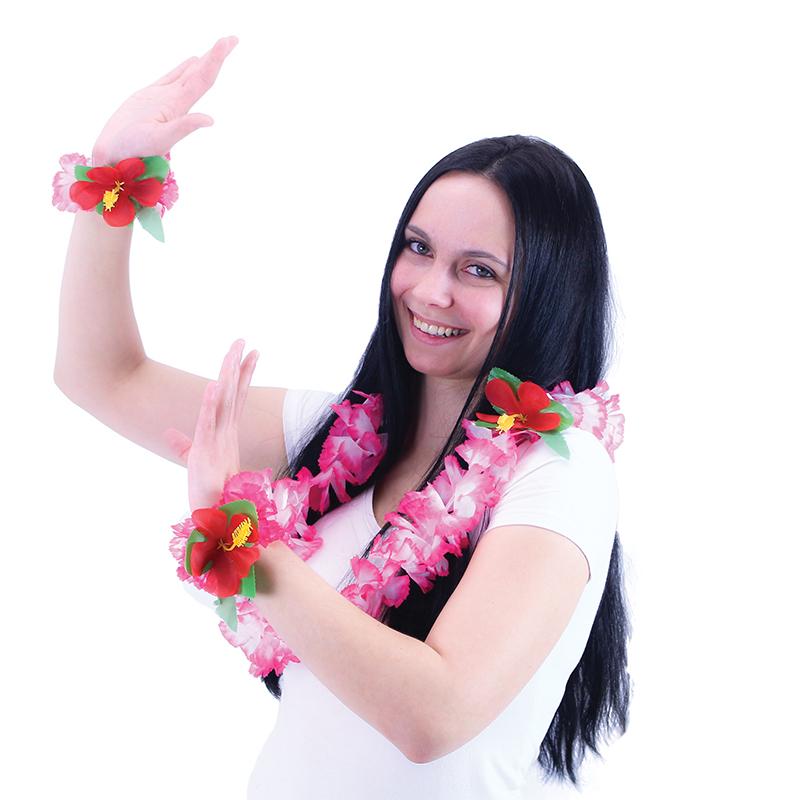 Sada Hawaii růžová - náhrdelník s náramky