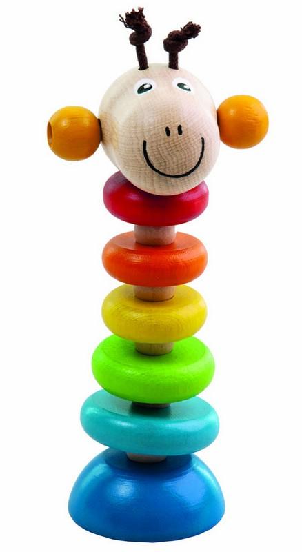 Dřevěná žirafa na gumě