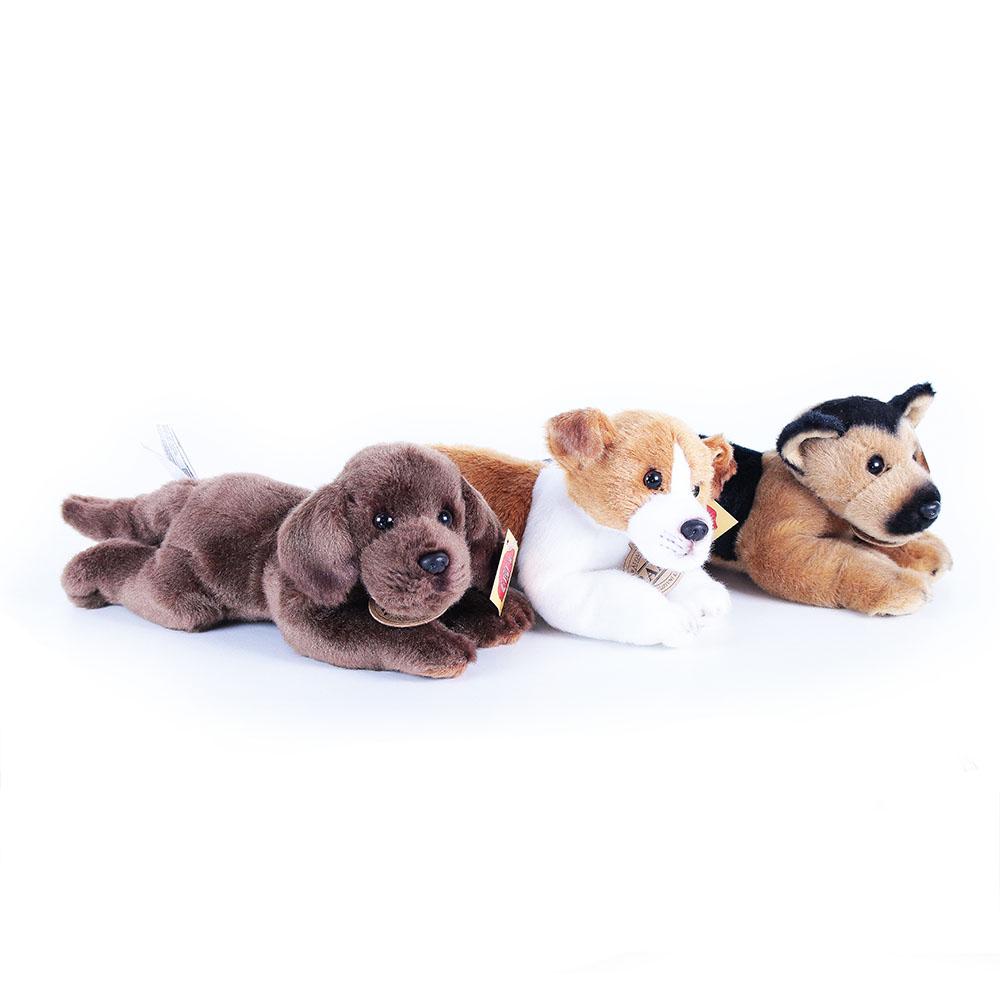 plyšový pes ležící se zvukem jack russel labrador