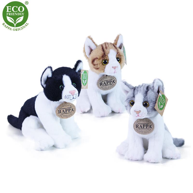 Plyšová kočka sedící 3 druhy 20 cm