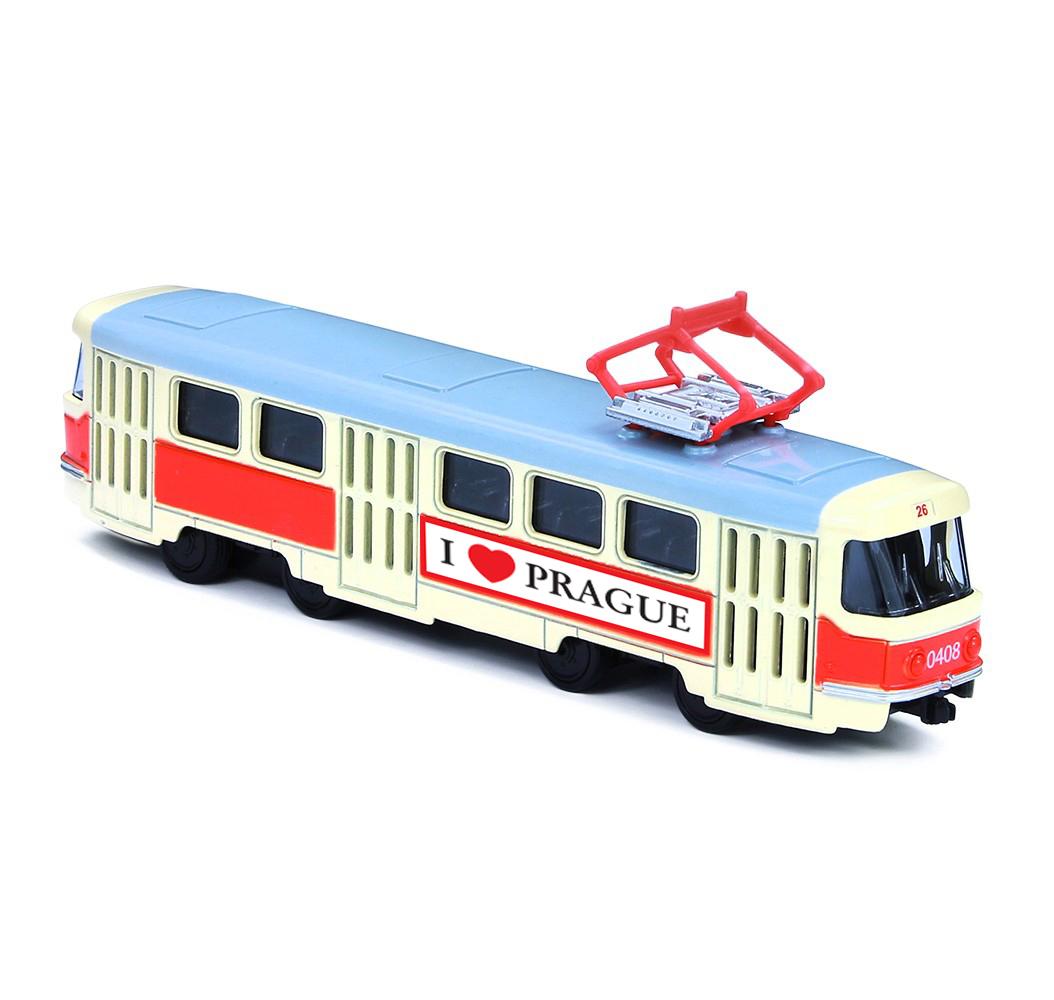 Kovová česká retro tramvaj 16 cm PRAGUE