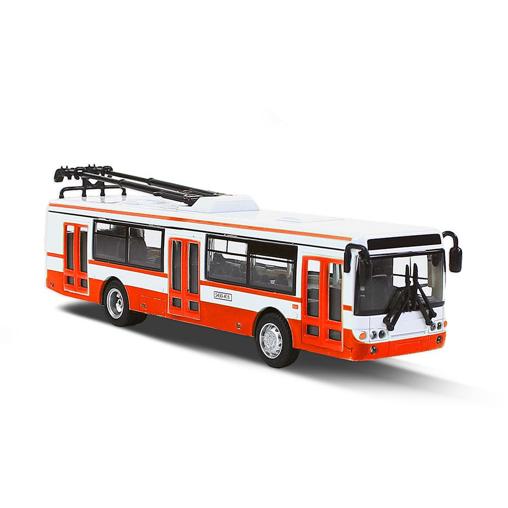 Kovový trolejbus červený 16 cm