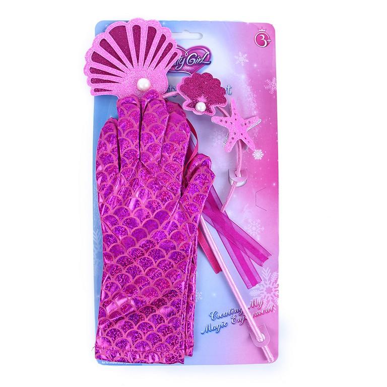 Sada mořská víla s rukavicemi růžová
